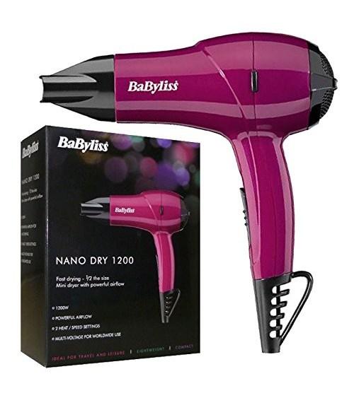 BaByliss 5282BAU Nano Dry 1200W Multi Voltage Hair Dryer Pink