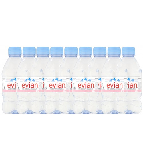 Evian Natural Mineral Water Bottle Plastic 330ml Pack of 24