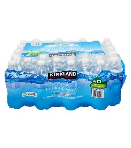 Kirkland Spring Water Bottled Natural Drinking Still Water 500ML Pack of 40