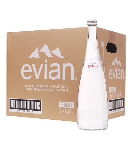 Evian Natural Mineral Still Water Glass Bottle 7500ML (Pack of 12 x 750ML)