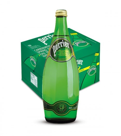 Perrier Sparkling Natural Mineral Water 750ml Glass Bottle Pack of 12