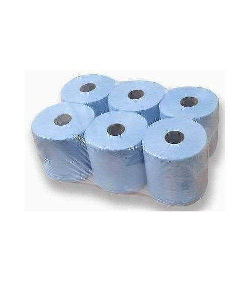 Blue Roll 2 Ply, Large Roll of Disposable Blue Paper Hand Towels 6 pack